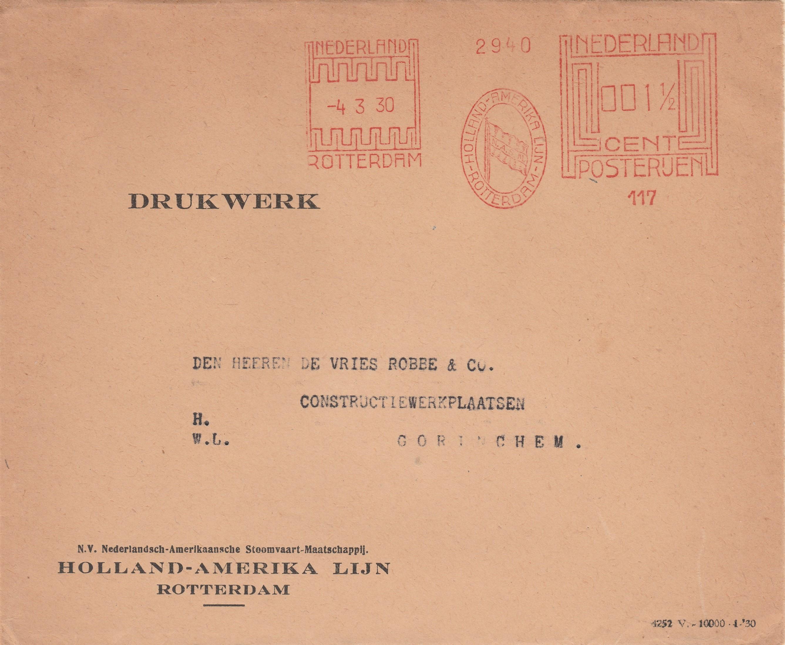 Enveloppen De Vries Robbe (18) 1931 - N.V. Nederlandsch-Amerikaansche Stoomvaart-Maatschappij Holland-Amerika Lijn, Rotterdam