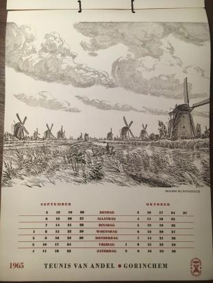 Kalender 1965 - Teunis van Andel, tekeningen Piet de Hoon (5)